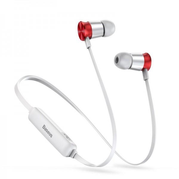 Baseus Encok Sports Wireless Earphone S07 Silver+Red