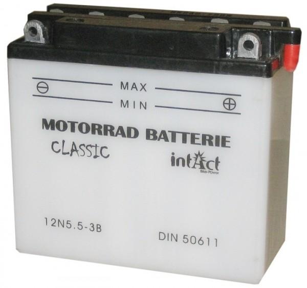 Intact Bike Power Classic - 50611S MoBa 12 V 5,5 AH (c20) 40 A (EN), 12N5.5-3B  +SP