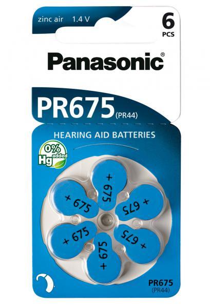 Panasonic Zinc-Air 6x PR675 (PR44) (Hörgeräte/Hearing Aid)