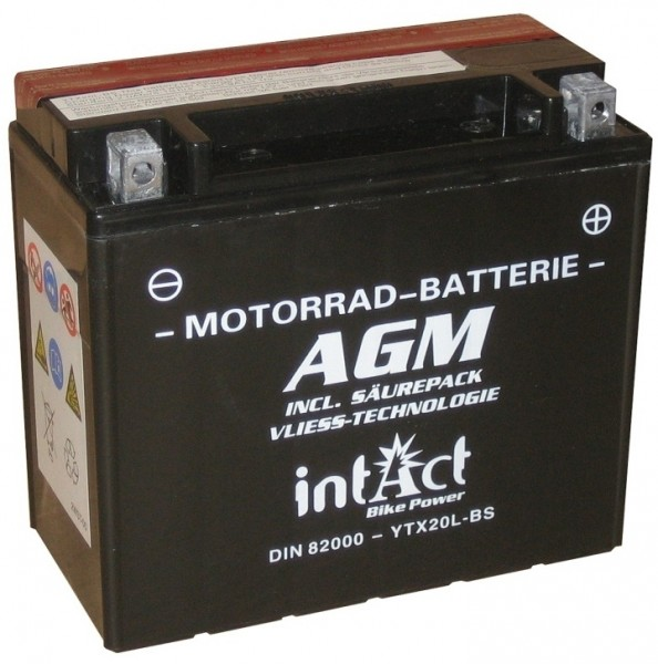 Intact Bike Power AGM - YTX20L-BS MoBa 12 V 18 AH (c20) 280 A (EN), YTX20L-BS