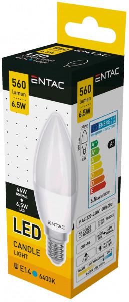 Entac LED Candle E14 6,5W CW 6400K