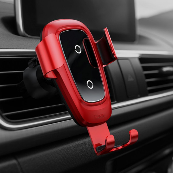 Baseus Metal Wireless Charger Gravity Car Mount(Air Outlet Version)Red