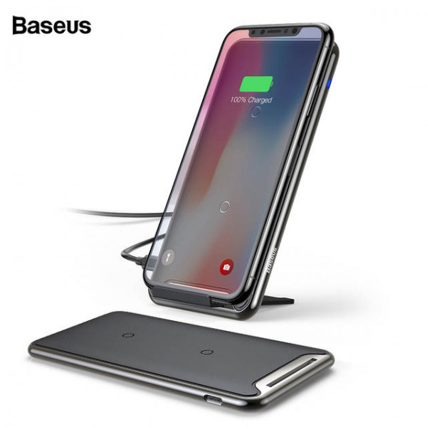 Baseus Three-coil Wireless Charging Pad(With desktop holder)Black