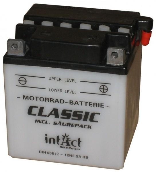 Intact Bike Power Classic - 50612S MoBa 12 V 5,5 AH (c20) 40 A (EN), 12N5.5A-3B  +SP