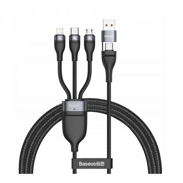 Cable USB 3w1 Baseus Flash Series, USB-C + micro USB + Lightning, 40W, 5A, 1.2m (black)