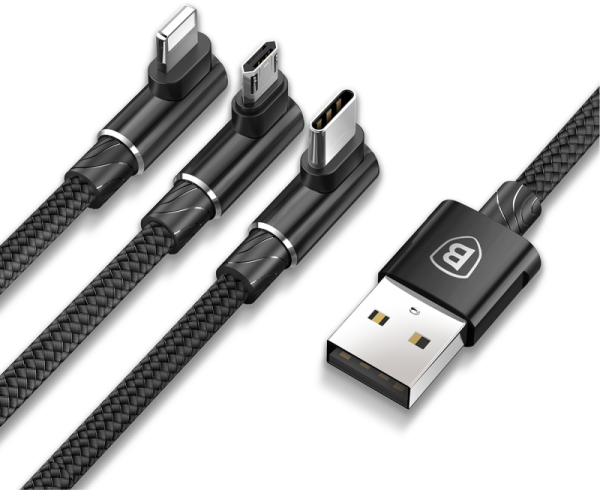 Baseus MVP 3-in-1 Mobile game Cable (USB A-Lightning/Micro/USB-C) 1.2m Black