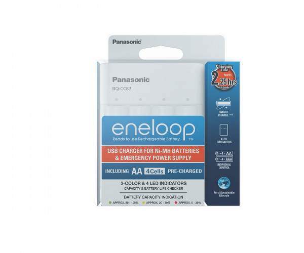 Panasonic Eneloop USB Charger & Powerbank (inkl. 4x AA 1900mAh) BQ-CC87