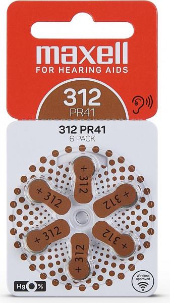 Maxell Zinc-Air 6x PR312 (PR41) (Hörgeräte/Hearing Aid)