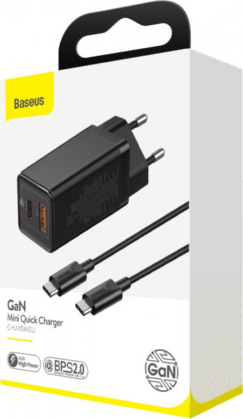 Baseus GaN Mini Wall Charger 45W Quick Charge 4.0, Power Delivery 3.0 black