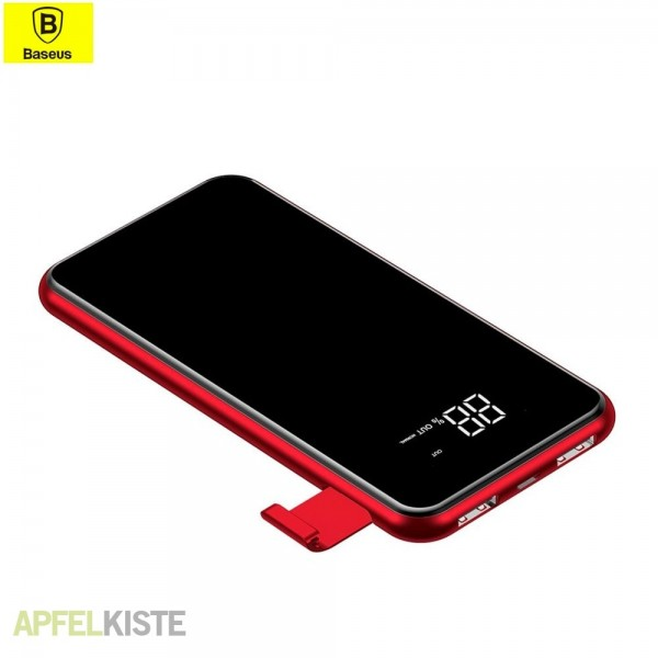 Baseus 2in1 Powerbank Qi Wireless Charger 8000mAh Red