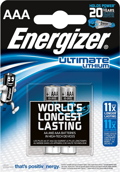 Energizer Ultimate Lithium 2x AAA L92/LR03