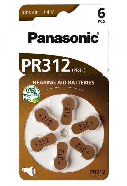 Panasonic Zinc-Air 6x PR312 (PR41) (Hörgeräte/Hearing Aid)