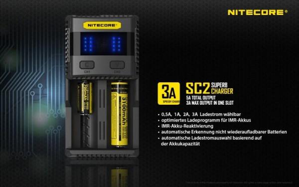 Nitecore SC2 Schnelladegerät 3A