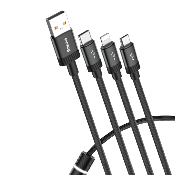 Baseus Data Faction 3-in-1 Cable USB (USB A-Lightning/Micro/USB-C) 1.2m Black