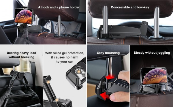 Baseus backseat vehicle phone holder hook Black