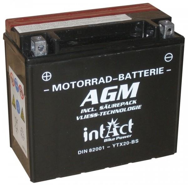 Intact Bike Power AGM - YTX20-BS MoBa 12 V 18 AH (c20) 280 A (EN), YTX20-BS