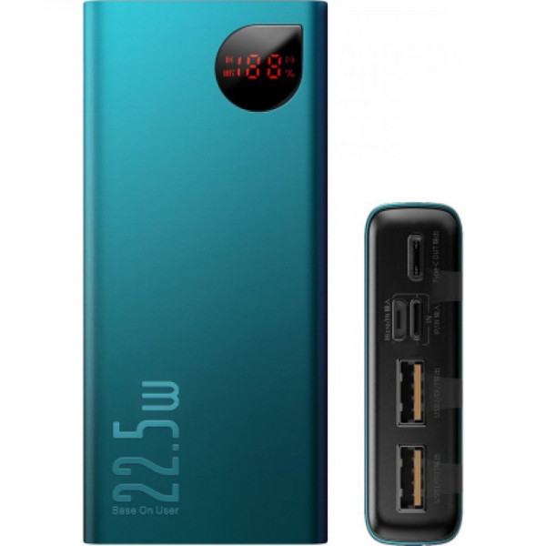 Baseus Adaman Metal Digital Display Quick Charge Power Bank 22.5W 20000mAh Green